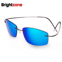 2016 New Fashion Ultralight Rimless Titanium Polarized Sunglasses Men Driving Fishing Brand Design Sun Glasses Oculos De Sol