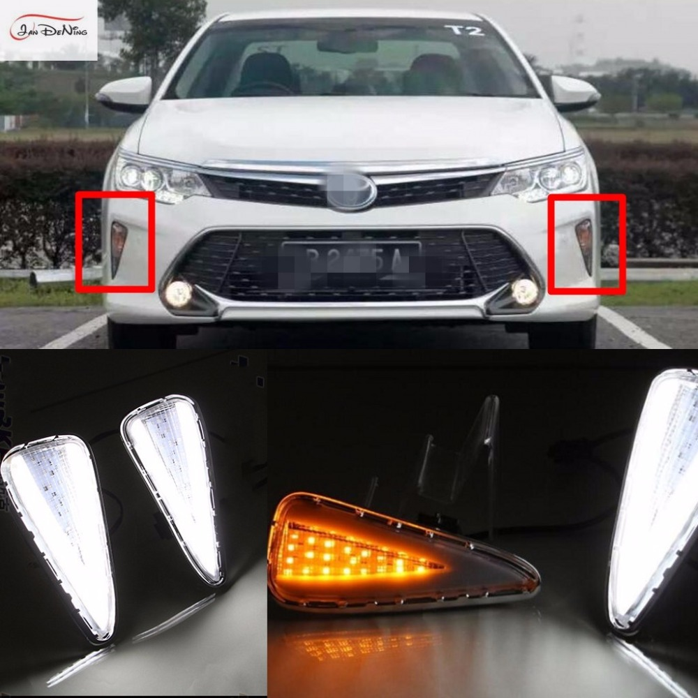 JanDeNing LED With Turn Signal Daytime Running Light Driving Lights DRL Replacement Kit For Toyota Camry 2015-2016 tcart 2x auto led light daytime running lights turn signals for toyota prius highlander for prado camry corolla t20 wy21w 7440