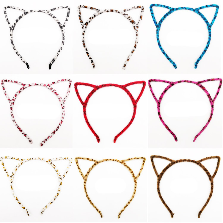 Plastic Thin Fur Leopard Cat Ears Headband Horn Hair Hoop Hairband Cross Bands Bow Comb Birthday Halloween Party Favors Supplies in Hair Accessories from Mother Kids