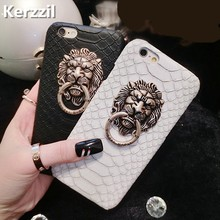 Kerzzil Snake Skin Lion head PU Leather Hard Case For iPhone 7 6 6S Plus Phone Stand Holder Cover Back For iPhone X 6 6S 8 Plus(China)