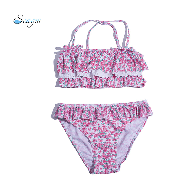Falbala print children girls bikini 2019 girls swimwear swimsuit bandage brazilian bikini set cute kids bathing suit biquini 82 Купальник