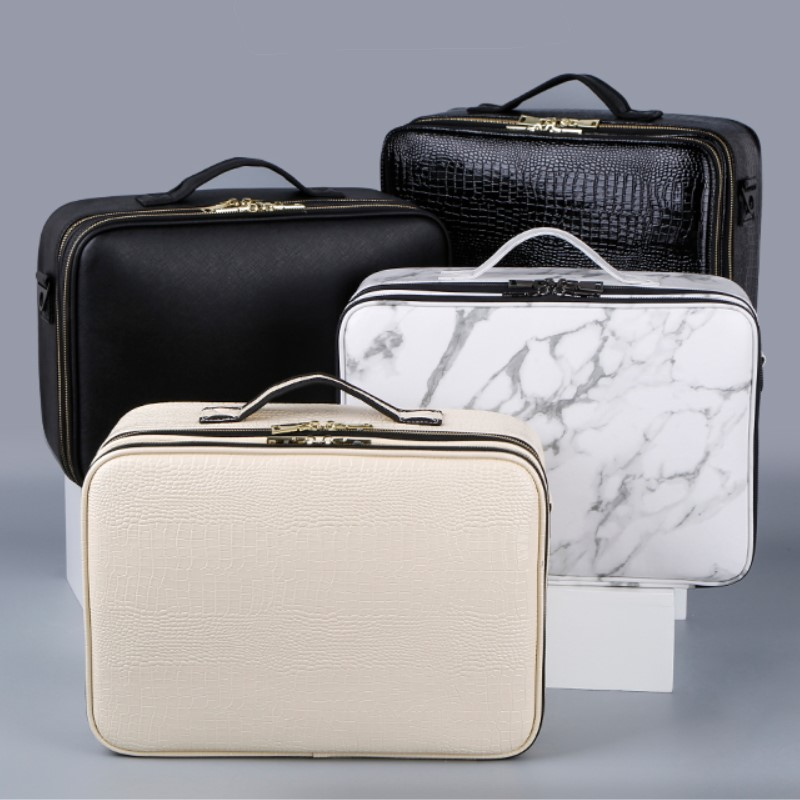 Professional PU Beauty  Cosmetic Cases With Makeup Bag Tattoo Nail Multilayer Toolbox Make Up Bags