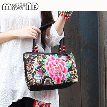Spain New Fashion National Wind Women Flower Embroidered Handbags Desigues Casual Bag Embroidery Handbags Canvas Handbags