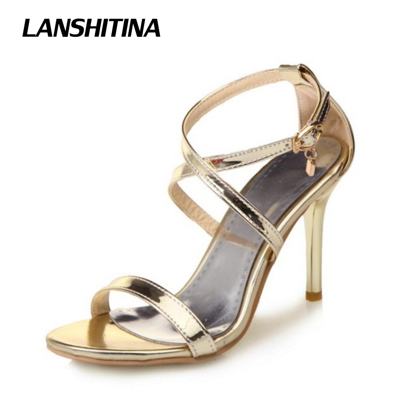 Big Size 30-50 Women High Heel Sandals Narrow Band Woman Bright Sandals Lady Summer Heel Shoes Sandals Party Wedding Shoes G1969 xiuningyan horsehair sandals women flat heel sandals fashion summer low heel shoes woman sandals summer plus size free shipping