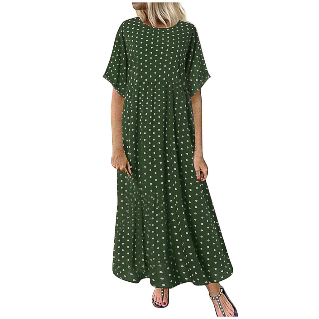 HTB1tZQ0XpP7gK0jSZFjq6A5aXXap Summer Style New Women Dress Plus Size Fashion Women O-Neck Short Sleeve Dot Peinted Casual Dress vestidos mujer