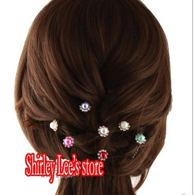 Wholesale--300 X Crystal Rhinestone Flower Plated Pearl  Bridal Hairpin Clips Wedding Hair Pins, Mix 6 colors *Free Shipping*