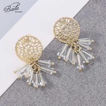 Badu Bohemian Crystal Dangle Women Earrings Gold Color Round Hollow Pattern Metal Fashion Cute Jewelry Wedding Gift