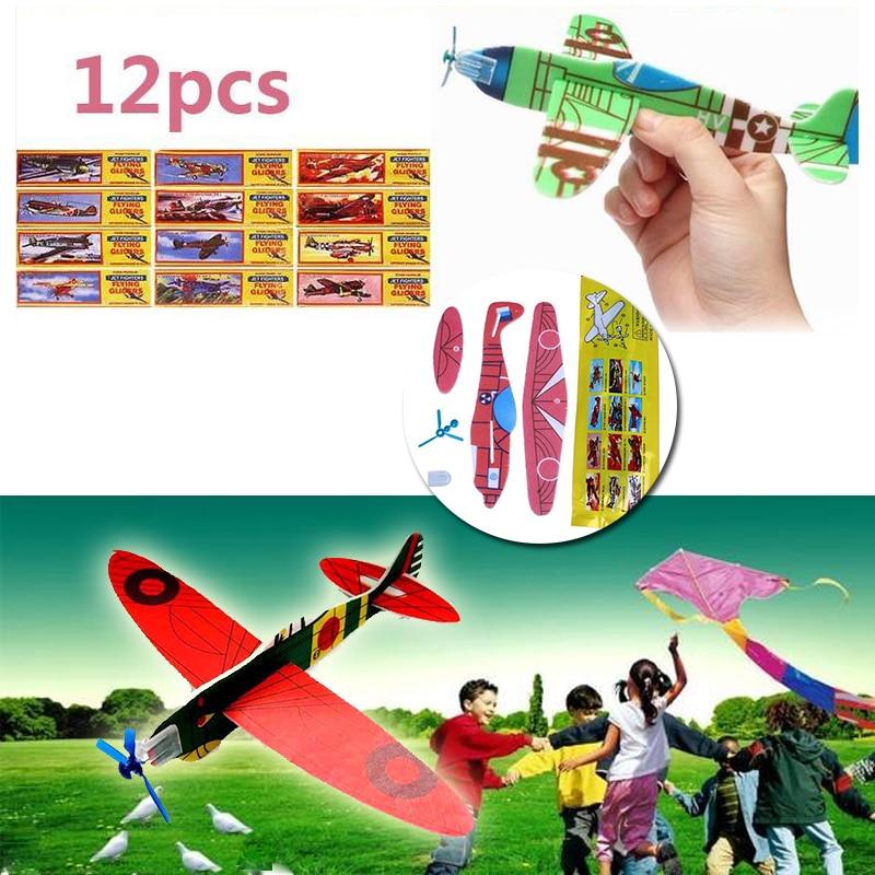 12 шт. DIY ручной бросок самолет Летающая Игрушка-планер самолет из пенопласта вечерние наполнители детские игрушки игры