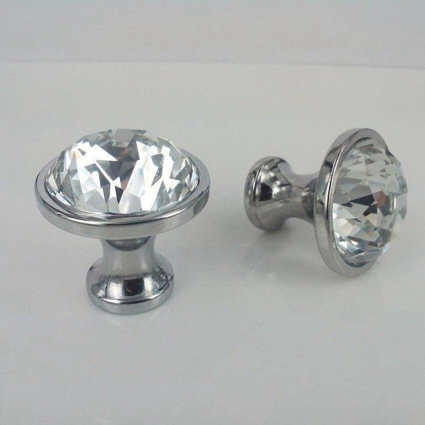 25mm 30mm Rhinestone Drawer Cabinet Knobs Pulls Silver