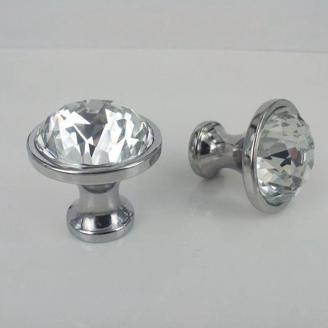 Beau 25mm 30mm Rhinestone Drawer Cabinet Knobs Pulls Silver Chrome Glass Crystal  Dresser Door Handles Knobs Modern