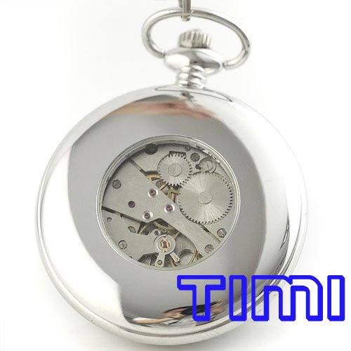 wholesale Unique Silver wood Roma mechanical pocket watch mi dial freeship