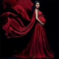 ファンシーウェディングドレス写真撮影スタジオvネック赤産科ゴージャスなドレス妊娠中の写真撮影の小道具産科ガウンドレ