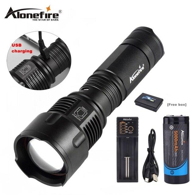 Alonefire x981 USB xm-t6 увеличить 26650 светодиодный фонарик Фонари Масштабируемые Факел охоты свет лампы освещения