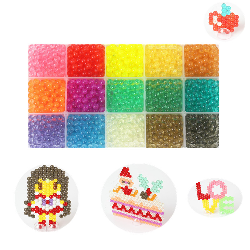 100pcs/bag Crystal Spray Beads Puzzle Toys For Children 15 Colors Water Sticky Beads Educational Toys Pegboard Set Speelgoed