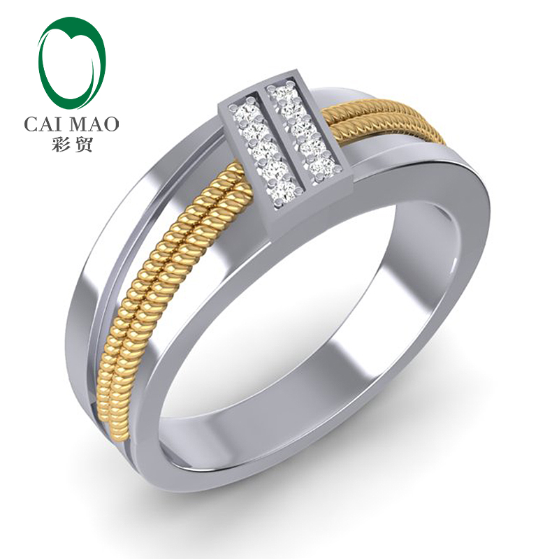 CaiMao 14K White & Yellow Gold 0.13ct Natural Diamond Twisted Rope Mens Wedding Band Mens Ring leaf print twisted hair band