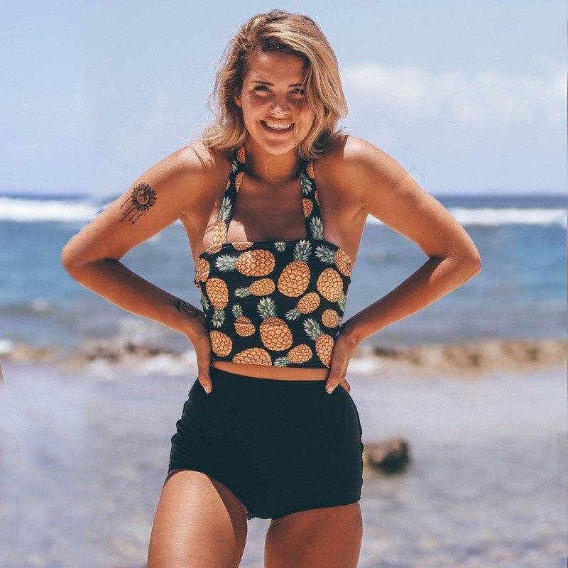 HTB1tZQceUGF3KVjSZFoq6zmpFXaO High Waist Swimsuit 2018 Sexy Bikinis Women Swimwear Vintage High Neck Bikini Set Bathing Suits Swim Wear Biquini Plus Size XXL