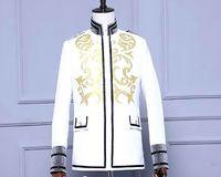 Mens borduren golden stand kraag glitter grijs mouw witte smoking jas/stage prestaties, alleen jas/pls zie maattabel