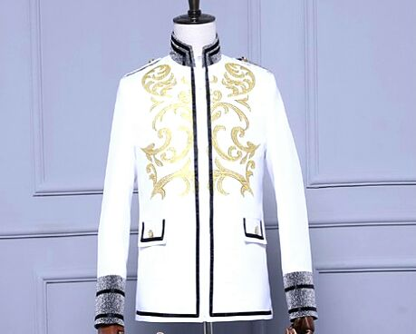 mens embroidery golden stand collar glitter grey sleeve white tuxedo jacket/stage performance, only jacket/pls see size chart