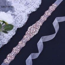 Rose gold belt rhinestone wedding Belt Pearl Bridal belt Rhinestones Bridal sash vestido za Wedding Evening Dresses