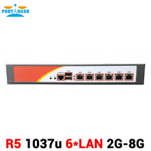 Соучастником R5 Intel 1037 Двухъядерный 1.8 ГГц 6 * Intel 82583 В Gigabit Ethernet Промышленного Брандмауэра 2 Г RAM 8 Г SSD