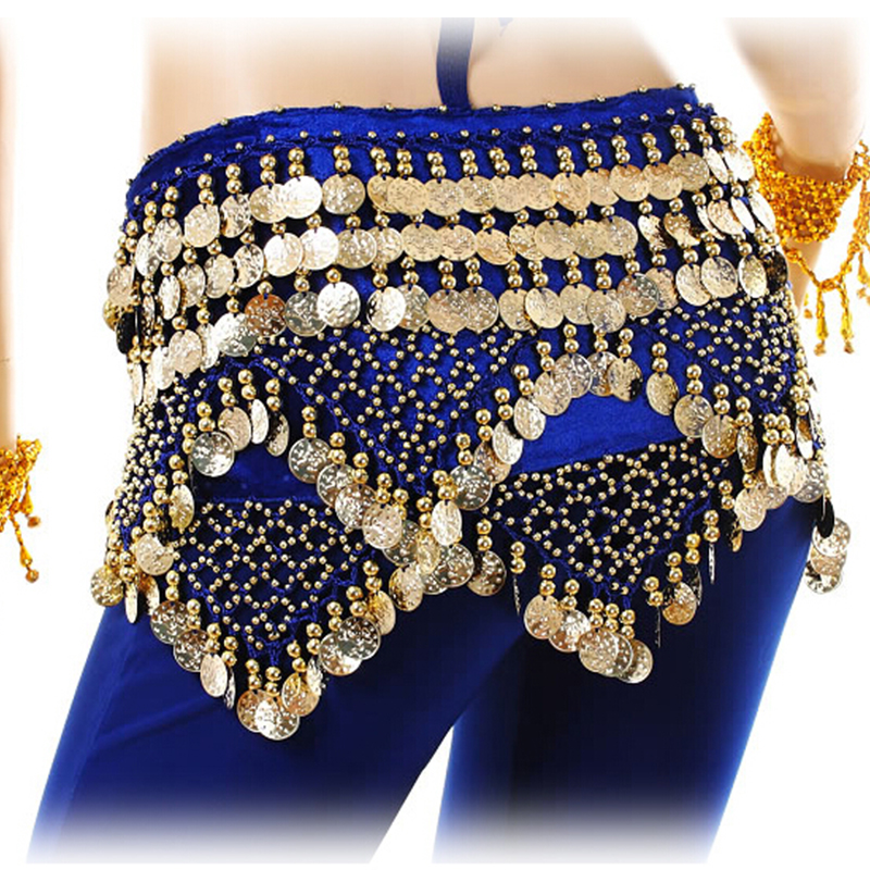 Women Arab Belly Dancing Costumes Hip Scarf Halloween Party Performance Skirt Indian Dance Belt Music Festival Gold Coins Egypt in Belly Dancing from Novelty Special Use