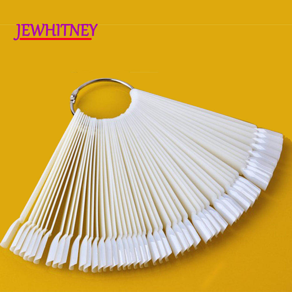 50pcs UV Gel Polish Display Nail Art Tool Nails Palette Color Chart False Nail Art Tips Fan Shaped Removable Stick Showing Shelf stylish 24 pcs smile expression pattern nail art false nails page 1