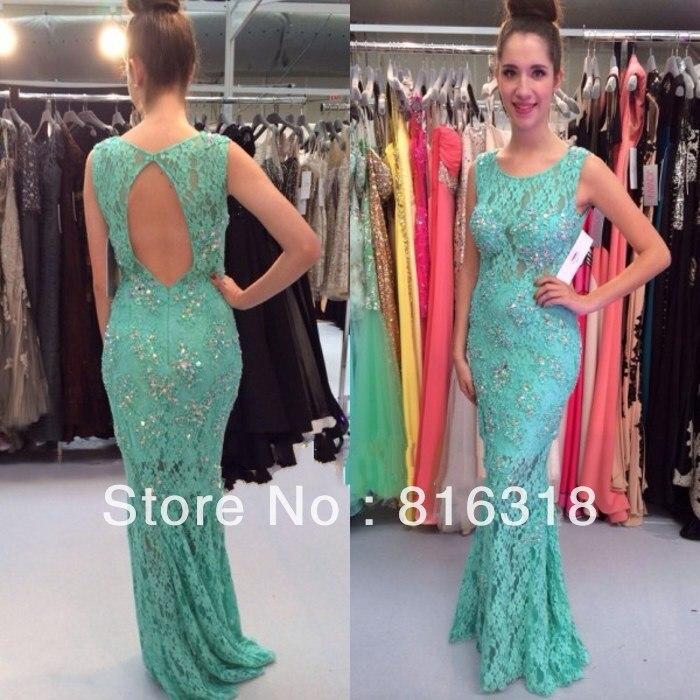 279397bb9 Vestidos Formales Vestidos Formales De noche De encaje con espalda abierta  vestido De noche color turquesa De noche elegante 2014 Vestidos De Gala en  ...
