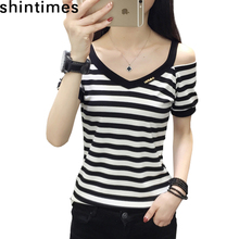 цена на Striped Tee Shirt Femme 2019 Summer Korean Fashion Casual V-Neck T Shirt Women Short Sleeve Off Shoulder Black Women Tshirt