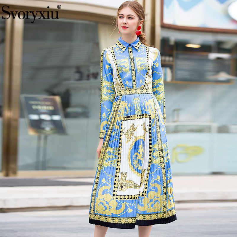 36beab68c9653b6 Svoryxiu модные дизайнерские осень зима миди платье женская элегантная с  длинным рукавом Винтаж принт женский плиссированные