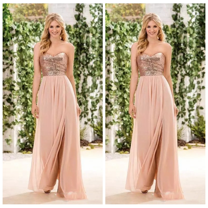 2019 Sweetheart Rose Gold Sequin Long Bridesmaid Dresses Sweetheart Split A Line Custom Maid Of Honor Gowns Cheap