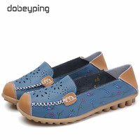 2017 New Women Casual Shoes Soft Real Leather Femal Flats Breathable Woman Loafers Leisure Boat Shoe