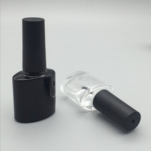 Free Shipping Empty 2ps 10ml Black Clear Square Nail Polish Glass Bottle Easy Taking Varnish Make up Container