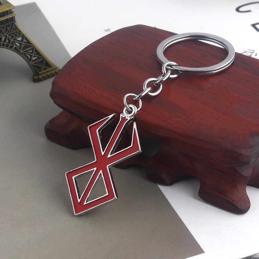 יפן משחק להשתולל לוגו Keychain אומץ חרב אדום לוגו קסמי תליון מפתח שרשרות לנשים גברים קולר Keyring תכשיטים