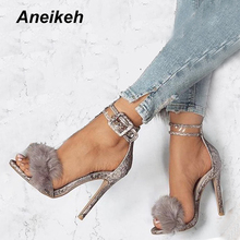 Gladiator Sandals Footwear-Fur Stiletto Ankle-Strap Sexy Shoes High-Heels Wedding Aneikeh