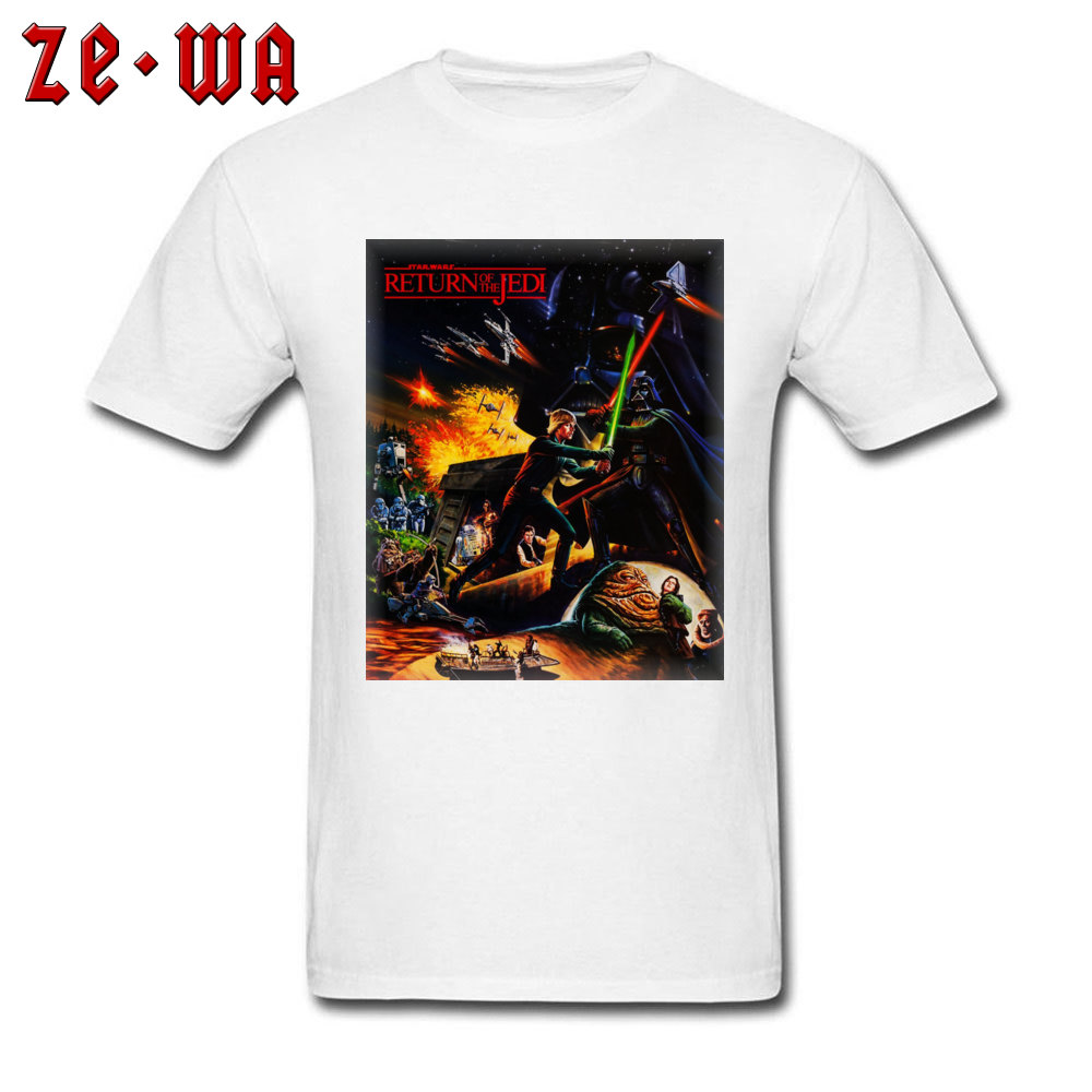 Star Wars Tshirt Men T Shirt Classic Movie T-shirt Return Of The Jedi 80s Personality Tops Cotton Fabric Short Sleeve Clothes image