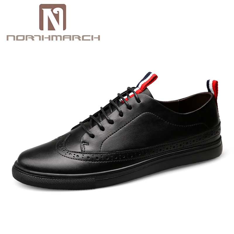 NORTHMARCH Mens Loafers Fashion Breathable Lace-Up Casual Shoes Leather Bullock Casual Men's Shoes Genuine Leather Loafers Men pamasen new spring autumn lace up mens loafers fashion breathable men casual genuine leather shoes designers moccasins men shoes