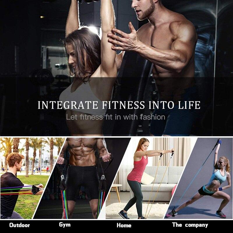 Набор эластичных резинок для фитнеса, 11 шт., расширитель для занятий йогой, Резиновая лента, растягивающаяся тренировка, домашние тренажерные залы, Тяговая веревка-5