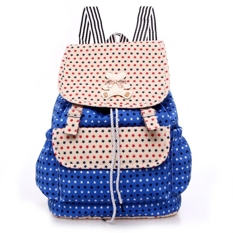 Girl Canvas Printed Backpack Female College Students Leisure Bag Flap Pocket Random Belt Backpack