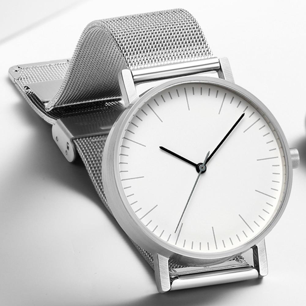 Top luxe marque hommes montres 2019 nouveau Style Ultra-mince en acier inoxydable Couple montre à Quartz Relogio Masculino femmes horloge