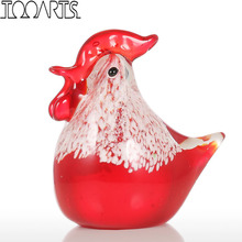 Tooarts Small Chicken Figurine Glass Figurine Animal Craft Home Decor Glass Chinese Art Ornament  Sculpture Gift For Home Office