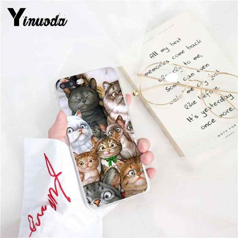 """Yinuoda с героями мультфильмов, с изображением """"Кот"""" Мышь свинья кошки Черная мягкая крышка чехол для телефона для iPhone X XS MAX, 6, 6 S, 7, 7 plus, 8, 8 Plus, 5 5S XR 10 Чехол"""