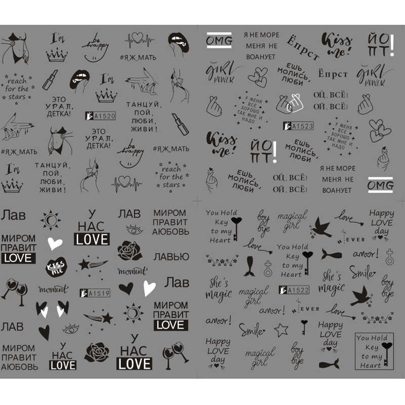 12 hoa văn Lá Móng Đề Can Nước Với Dòng Chữ Khắc Bướm Truyền Thanh Trượt Nga Thư Cô Gái Sexy Móng Tay Nghệ Thuật Bộ Gậy