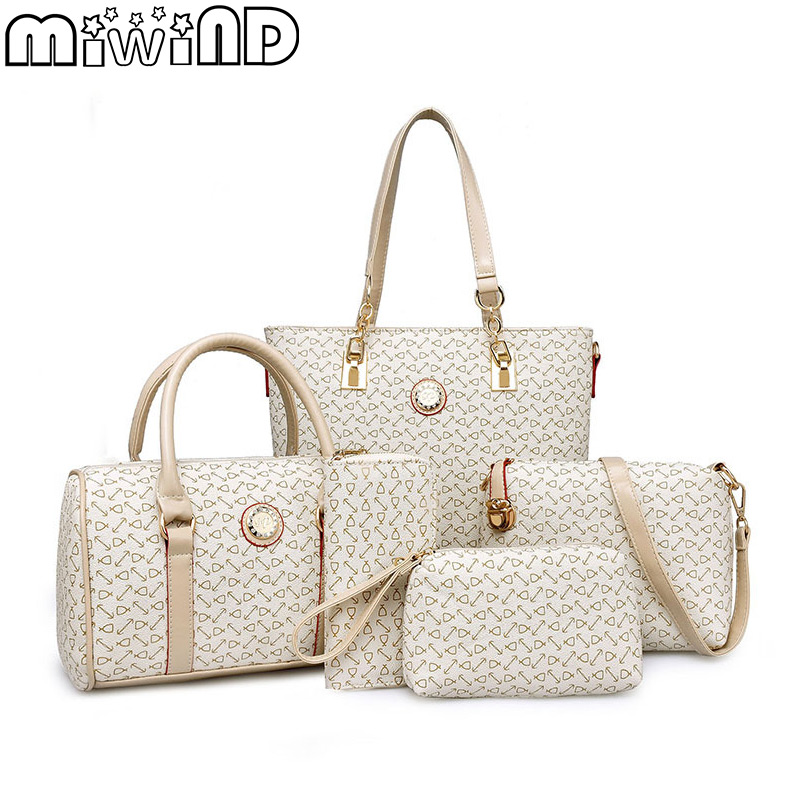 цены MIWIND 2017 New Women Handbags Buy One Get Five High Quality PU Leather Fashion Sweet Ladies Shoulder Bags Seven Colors Set Bag