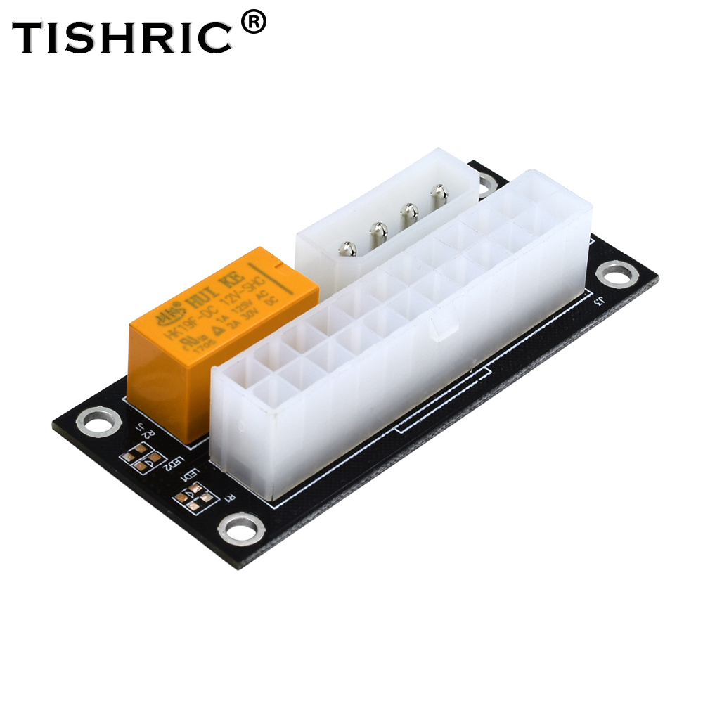 TISHRIC PC Desktop Black ATX <font><b>24Pin</b></font> to 4Pin Molex Dual PSU Power Supply Sync Starter Extender <font><b>Cable</b></font> Card for Bitcoin Ming image