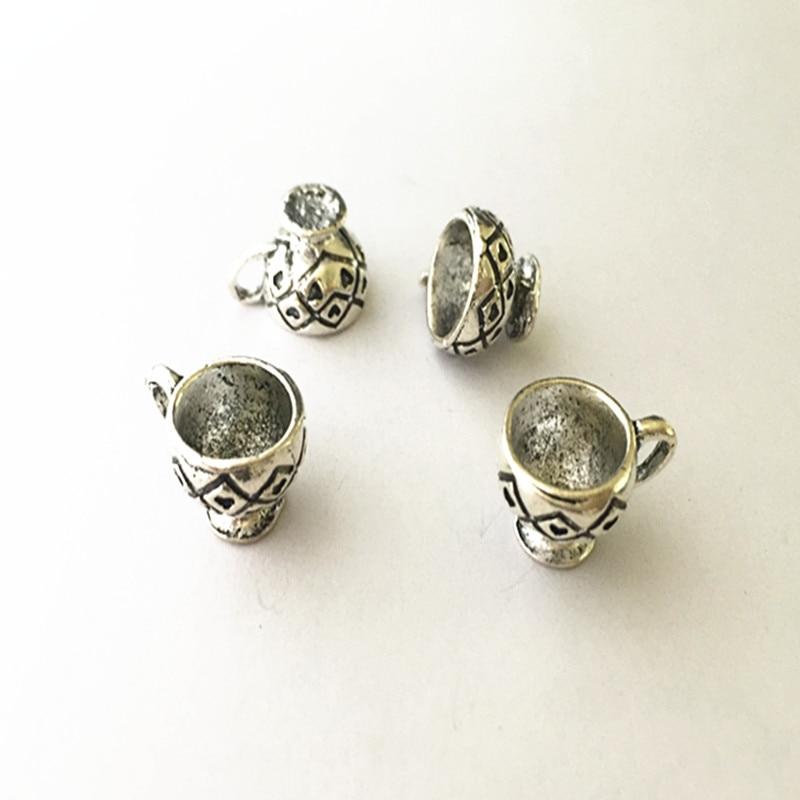 Jewelry Sets & More Alert 3pcs/lot 12mmx20mm Antique Silver Cup Pendant Charms Necklace Pendant Mini Pendant Accessories Connector Charms Excellent Quality