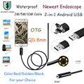 8 MM Lens Mini USB Android Endoscópio Tubo 6 LEDs À Prova D' Água Mini Câmera Endoscópio Inspeção Serpente Tubo Camera Para Android PC