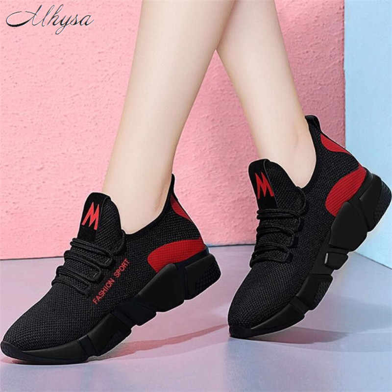 Mhysa 2019 Mùa Xuân Mới Nữ Thời Trang Thoáng Khí Nhẹ Đi Bộ Lưới Phối Ren Phẳng Giày Sneakers Nữ T71