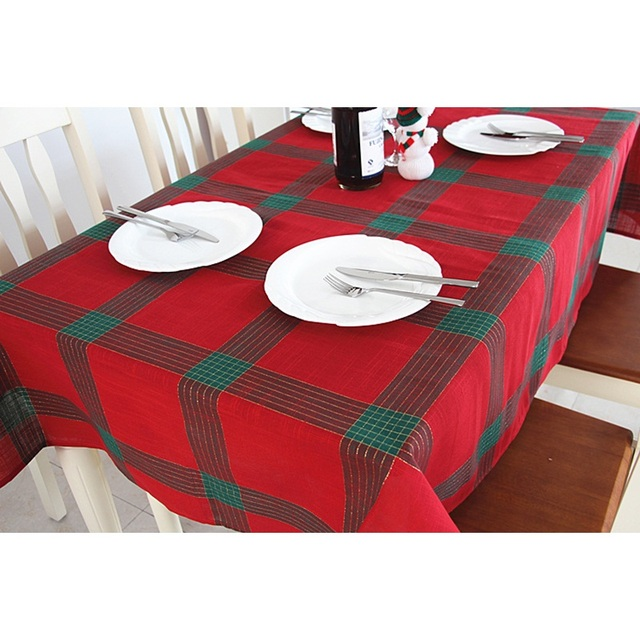 new arrival europe style popular christmas tablecloth rectangular square linen tablecloths plaid printed dustproof home decor - Square Christmas Tablecloth