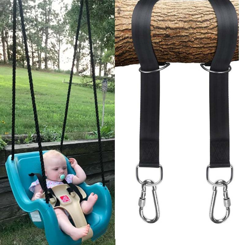 Swing Rope Tree Hanging Straps Kit Hammocks Hooks For Swings Carry Pouch Easy Installation With Safer Lock Snap Carabiner