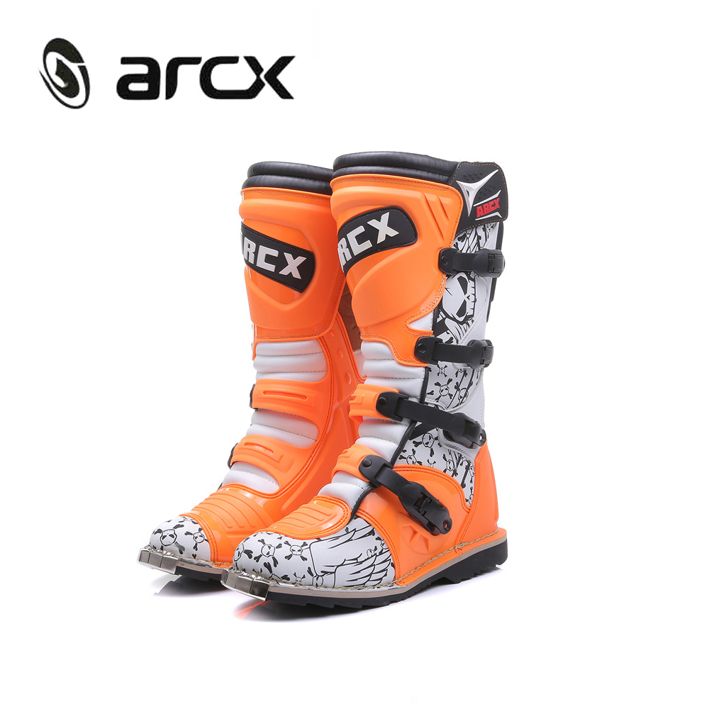 ARCX Motorcycle Boots SPEED BIKERS Mens Motocross Boots Off-Road Motorbike Shoes Motocross Riding Moto Boots Men Orange L60200 arcx motorcycle boots off road racing shoes men leather moto boots motocross boots street moto touring riding motorcycle shoes